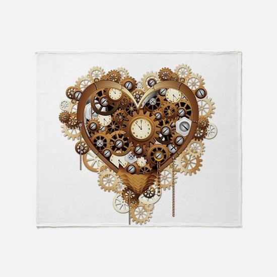 Steampunk Heart Love Throw Blanket
