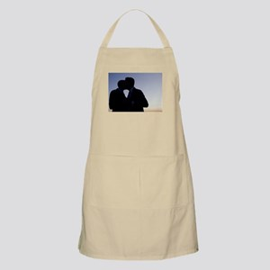 LGBT gay wedding marriage grooms kiss silhou Apron