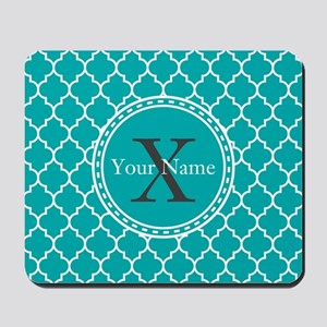 Custom Name And Initial Teal Quatrefoil Mousepad
