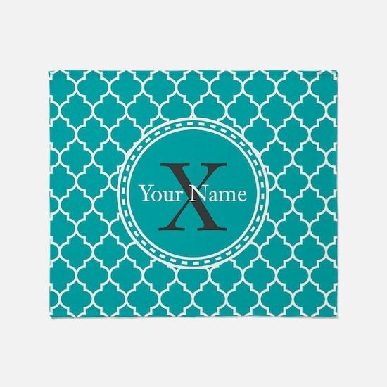 Custom Name And Initial Teal Quatrefoil Throw Blan