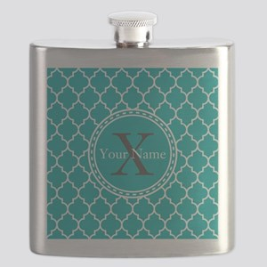 Custom Name And Initial Teal Quatrefoil Flask