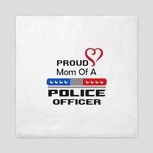 PROUD MOM AN OFFICER Queen Duvet
