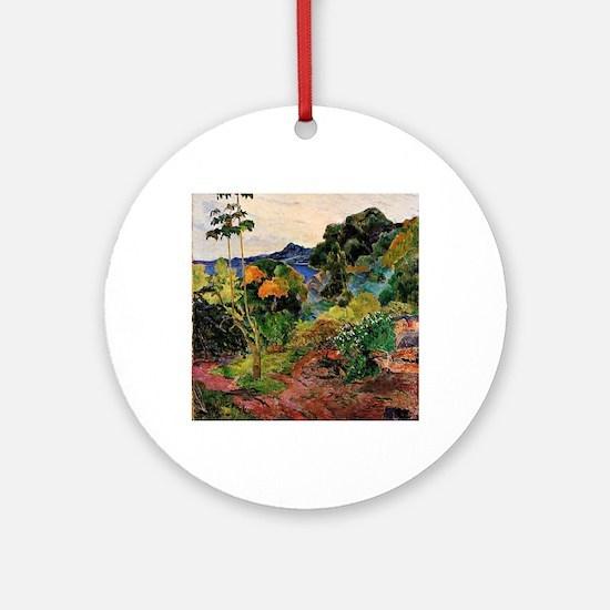 Martinique Landscape Round Ornament