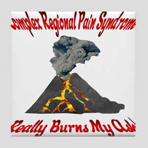 CRPS Really Burns My Ash Volcano Red Tile Coaster