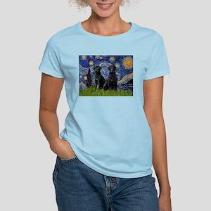 Starry Night & Black Labrado Women's Light T-Shir