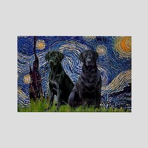 Starry Night & Black Labrado Rectangle Magnet