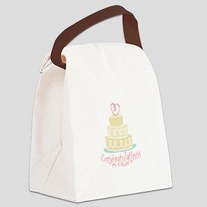 Congratulations Cake Canvas Lunch Bag