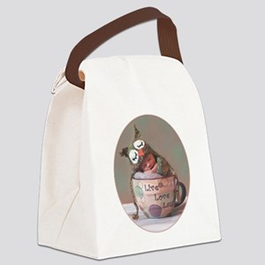 Baby With Owl Cap Canvas Lunch Bag