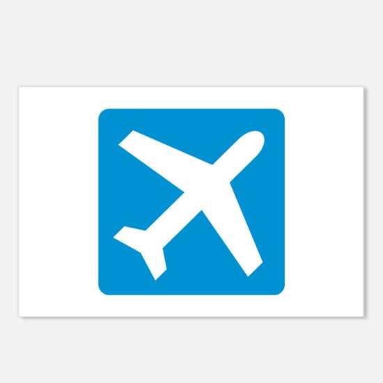 Blue airplane icon Postcards (Package of 8)