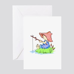BOY FISHING Greeting Cards