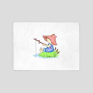 BOY FISHING 5'x7'Area Rug