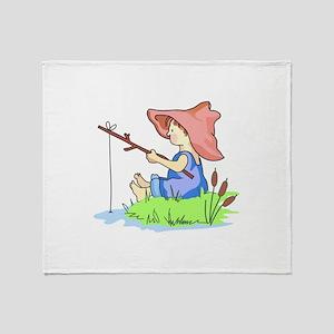 BOY FISHING Throw Blanket