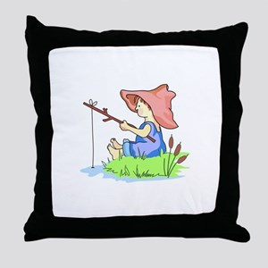 BOY FISHING Throw Pillow