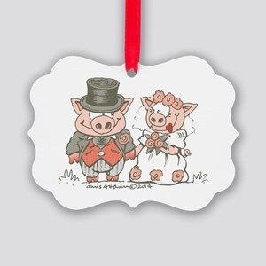 Wedding Pigs Picture Ornament
