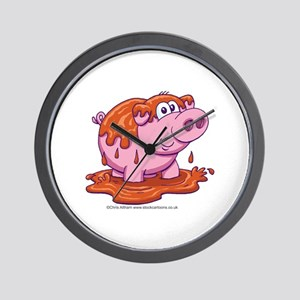 Pig in Mud Wall Clock