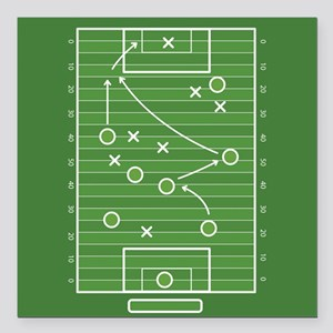 "Football field Square Car Magnet 3"" x 3"""