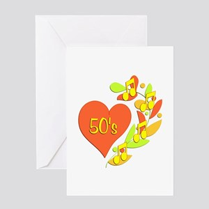 50s Music Heart Greeting Card