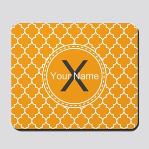 Custom Name And Initial Orange Quatrefoil Mousepad