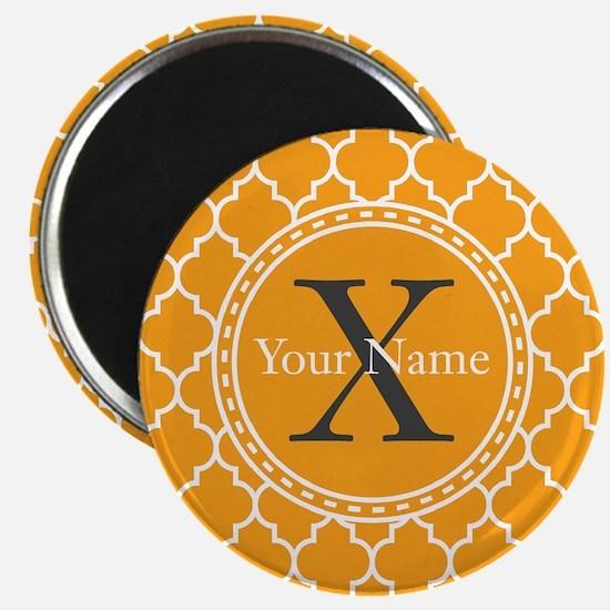 Custom Name And Initial Orange Quatrefoil Magnets