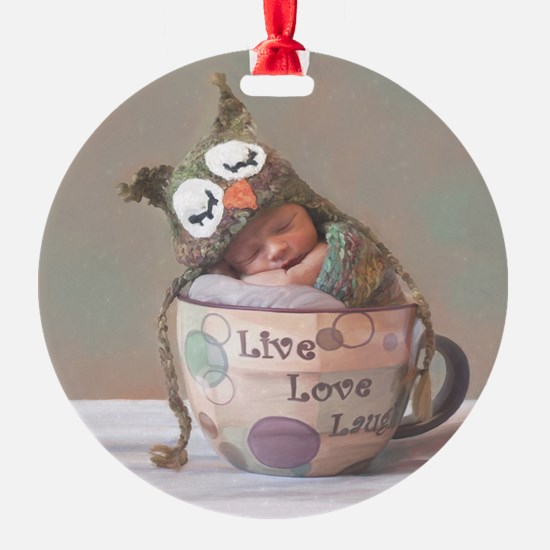 Baby With Owl Cap Ornament