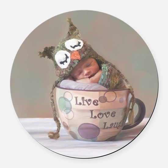 Baby With Owl Cap Round Car Magnet