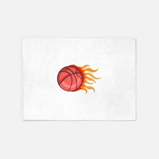 FLAMING BASKETBALL 5'x7'Area Rug