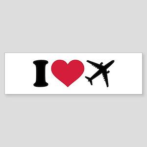 I love airplanes Sticker (Bumper)