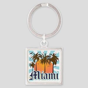 Miami Florida Souvenir Square Keychain