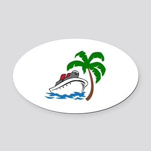 TROPICAL CRUISE Oval Car Magnet