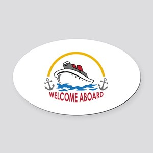 WELCOME ABOARD Oval Car Magnet