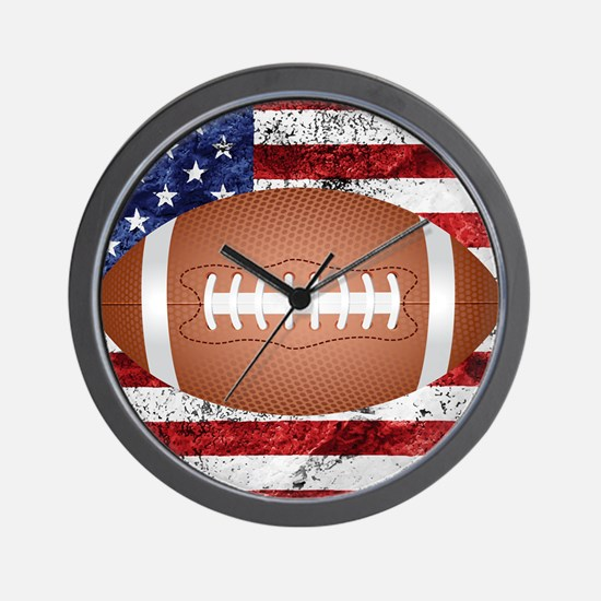 American football ball on flag Wall Clock