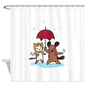 Raining Cats Dogs Shower Curtains