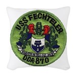 USS FECHTELER Woven Throw Pillow