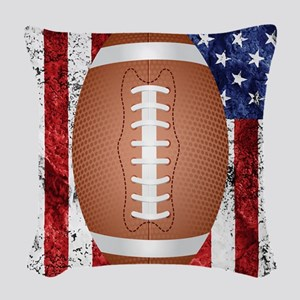 American football ball on flag Woven Throw Pillow