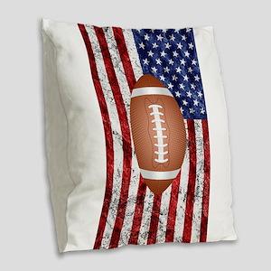 American football ball on flag Burlap Throw Pillow