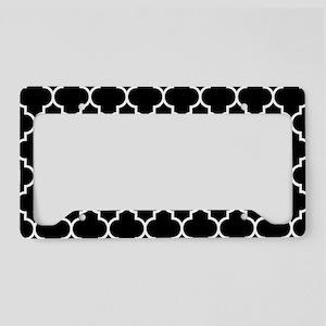 BLACK AND WHITE Moroccan Quatrefoil License Plate