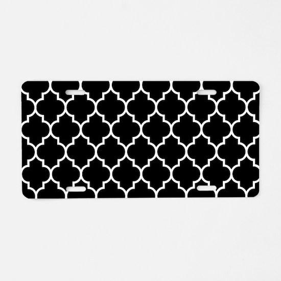 BLACK AND WHITE Moroccan Quatrefoil Aluminum Licen