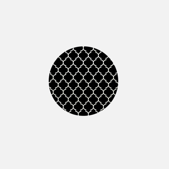BLACK AND WHITE Moroccan Quatrefoil Mini Button
