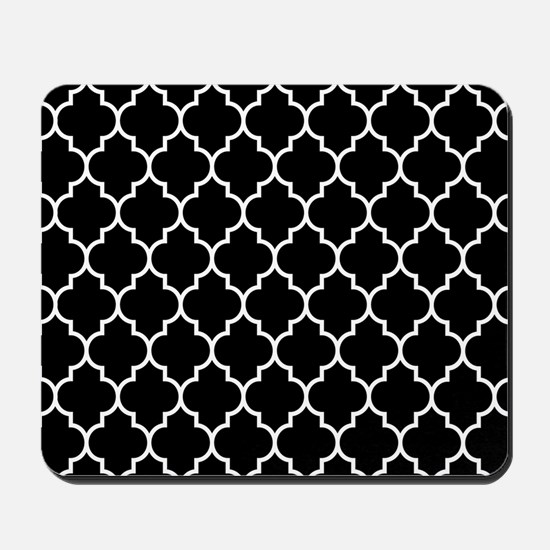 BLACK AND WHITE Moroccan Quatrefoil Mousepad