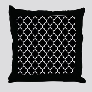 BLACK AND WHITE Moroccan Quatrefoil Throw Pillow