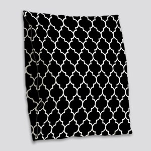 BLACK AND WHITE Moroccan Quatrefoil Burlap Throw P