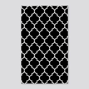 BLACK AND WHITE Moroccan Quatrefoil Area Rug