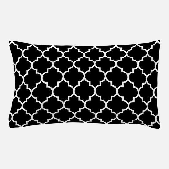 BLACK AND WHITE Moroccan Quatrefoil Pillow Case