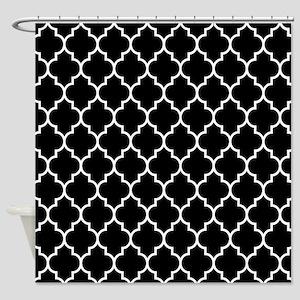 BLACK AND WHITE Moroccan Quatrefoil Shower Curtain
