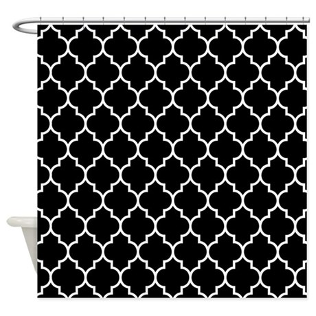 BLACK AND WHITE Moroccan Quatrefoil Shower Curtain by BeautifulBed