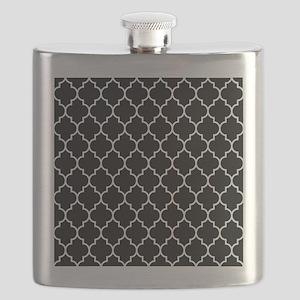 BLACK AND WHITE Moroccan Quatrefoil Flask