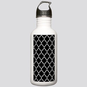 BLACK AND WHITE Moroccan Quatrefoil Water Bottle