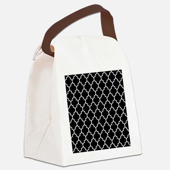 BLACK AND WHITE Moroccan Quatrefoil Canvas Lunch B