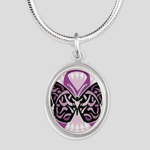 fibromyalgia awareness Silver Oval Necklace