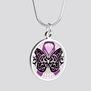 fibromyalgia awareness Silver Round Necklace